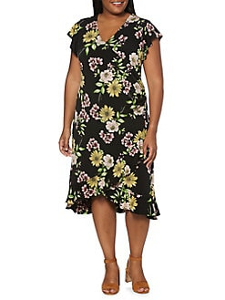 0ac4ee5d8fa Plus Floral A-Line Dress BLACK. QUICK VIEW. Product image