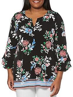 962f5c0941c05 QUICK VIEW. Rafaella. Plus Floral Three-Quarter Sleeve Top