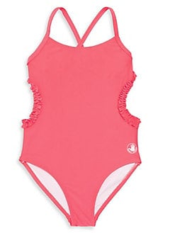 cad922e948 Girl s Ruffled Cutout One-Piece Swimsuit RED. QUICK VIEW. Product image
