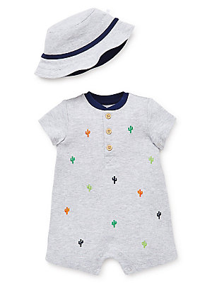 06f4ee817e51 Little Me - Baby Boy s 2-Piece Cactus Cotton Knit Romper   Hat Set