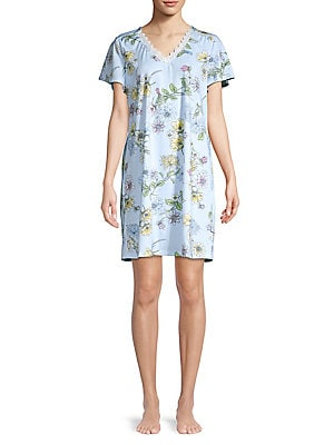 Karen Neuburger - Floral Lace-Trimmed Cotton Blend Sleepshirt cd1f1b1e5