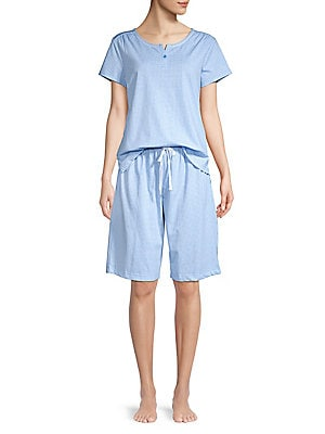 abd2da62be Karen Neuburger - 2-Piece Gingham Cotton Blend Shortie Pajama Set