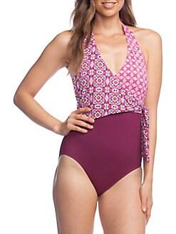 c2fe139b11dc QUICK VIEW. Lauren Ralph Lauren. Asymmetrical Tie Halter One-Piece Swimsuit