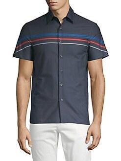 2e6dc762c3 QUICK VIEW. Perry Ellis. Striped Short Sleeve Button-Down Shirt