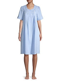 10896f96de QUICK VIEW. Miss Elaine. Embroidered Cotton Blend Robe