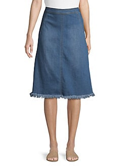 1d83bd0297 Fringe Denim Skirt DARK INDIGO. QUICK VIEW. Product image