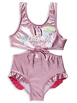 c6438f227e9 Product image. QUICK VIEW. Flapdoodles. Girl's One-Piece Island Time  Metallic Swimsuit