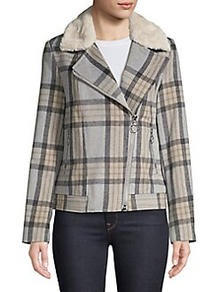 17244325a81 QUICK VIEW. Miss Selfridge. Checkered Faux-Fur Trimmed Biker Jacket