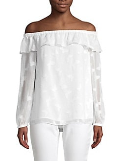 40f55d216c963 QUICK VIEW. MICHAEL Michael Kors. Off-The-Shoulder Butterfly Ruffle Top