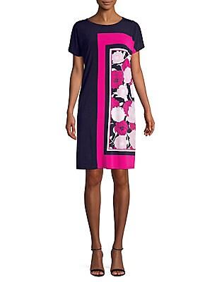 994e10de3f1 JONES NEW YORK - Floral Colorblock Shift Dress