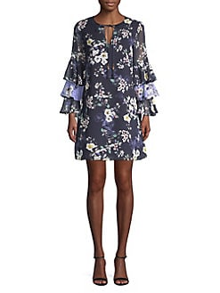aae2c5bcc7 QUICK VIEW. Vince Camuto. Layered Ruffle Sleeve Floral Chiffon Dress