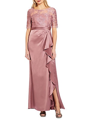 b0d2322cb1c Adrianna Papell - Embroidered Satin Gown