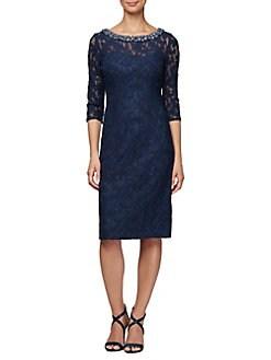 cc0d4e93f87 QUICK VIEW. Alex Evenings. Beaded Lace Shift Dress