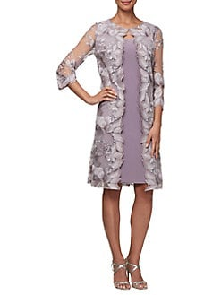 0acf49e92c6 QUICK VIEW. Alex Evenings. Embroidered Lace Knee-Length Jersey Dress
