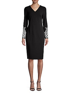 9b2003ec QUICK VIEW. Calvin Klein. Floral Embroidered Long Sleeve Sheath Dress