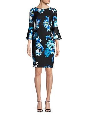 7f859eec Calvin Klein - Beaded Flare-Sleeve Sheath Dress - lordandtaylor.com