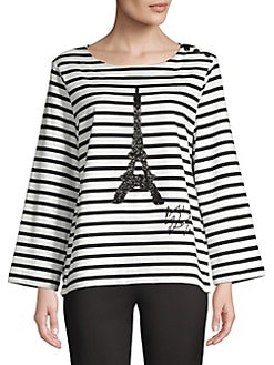 1d106e9780a970 QUICK VIEW. Karl Lagerfeld Paris. Striped Flare Sleeve Top