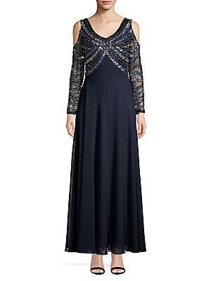 f9c4fdfc061 Lauren Ralph Lauren - Brooch Jersey Cowlneck Gown - lordandtaylor.com