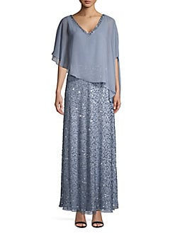 Embellished Asymmetrical Gown DUSTY BLUE. QUICK VIEW. Product image 2dc798928012