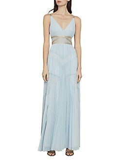 3a21af56ac Product image. QUICK VIEW. BCBGMAXAZRIA. Sleeveless Lace Inset Pleated Gown