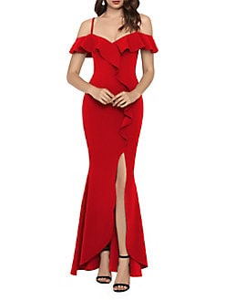 c330f8747e QUICK VIEW. Betsy   Adam. Off-the-Shoulder Ruffle Gown