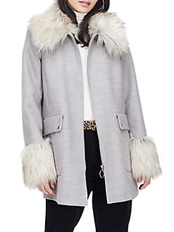2d210ea248281 Faux Fur Swing Duffle Coat GREY. QUICK VIEW. Product image