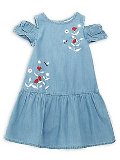 a920418653c Little Girl s Floral Embroidered Denim Dress DENIM. QUICK VIEW. Product  image
