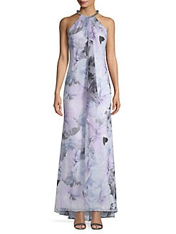 bdff34e28a QUICK VIEW. Calvin Klein. Embellished Floral High-Low Gown