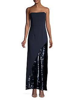 6d84ef272dc Sequin Hem Strapless Gown NAVY. QUICK VIEW. Product image