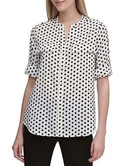 c82ede4c0009 QUICK VIEW. Calvin Klein. Rolled Sleeve Dotted Shirt