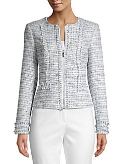 bd5f819213 Product image. QUICK VIEW. Karl Lagerfeld Paris. Frayed-Trim Tweed Jacket