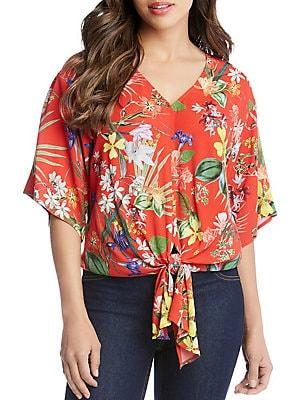 65f9863dde3f4 Karen Kane - Tropical Bouquet Print Tie-Front Top - lordandtaylor.com