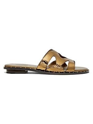 fb1f8c2ef002 MICHAEL Michael Kors - Frieda Embellished Leather Slides ...