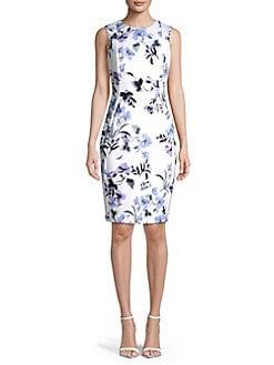 91e64d7d2ed4e Product image. QUICK VIEW. Calvin Klein. Paneled Floral Sheath Dress