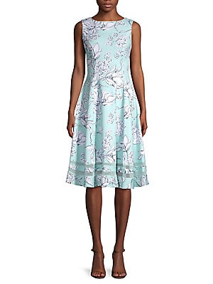Floral Lace Trim Fit & Flare Dress by Calvin Klein