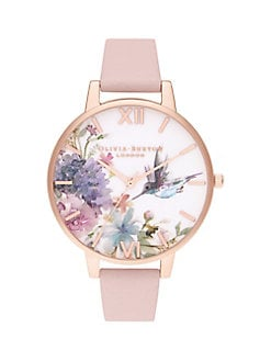 2b22192e1fae7 QUICK VIEW. Olivia Burton. Painterly Prints Hummingbird Rose Goldtone Watch