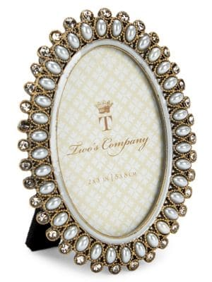 Image of Precious Pearls Jeweled Mini Oval Frame