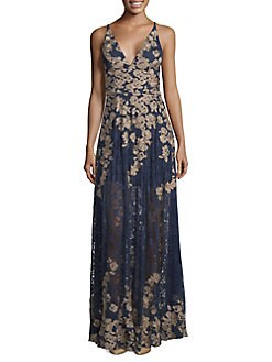 fe3473b49f4 QUICK VIEW. Xscape. Petite Vneck Floral Embellished Woven Evening Gown