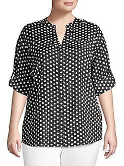 690854b7890 Plus Printed Roll Sleeve Blouse BLACK WHITE DOT. QUICK VIEW. Product image
