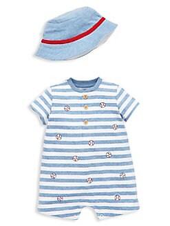 1dd1e16d7cb Product image. QUICK VIEW. Little Me. Baby Boy s 2-Piece Cotton Romper    Bucket Hat Set