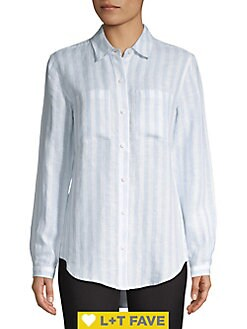 1f0ee1658de84 Product image. QUICK VIEW. Lord   Taylor. Petite Linen Button Front Shirt