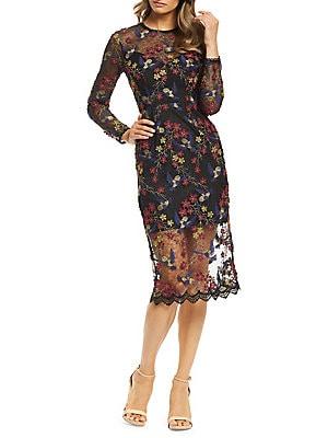 79456f3b71e Dress The Population - Sophia Embroidered Lace Illusion Sheath Dress