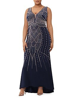 ebc06689e65 Plus Beaded Embellished Evening Gown NAVY. QUICK VIEW. Product image