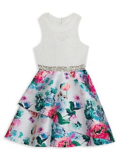 e8c4f0b8b96d QUICK VIEW. Rare Editions. Girl's Jeweled Lace & Floral Dress