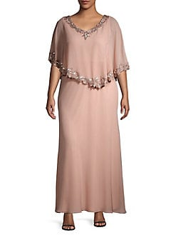 fbefd803a68 QUICK VIEW. J Kara. Plus Embellished Short Sleeve Capelet Gown