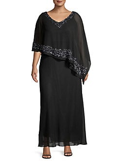 9c1d9ccf175 Product image. QUICK VIEW. J Kara. Plus Embellished Beaded Capelet Gown