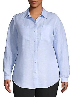 35c7d33b61066 Lord   Taylor - Plus Chambray Linen Shirt - lordandtaylor.com
