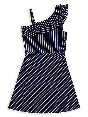 1ac1e80bb80c Zunie - Girl's Pinstriped Asymmetrical Ruffle Skater Dress