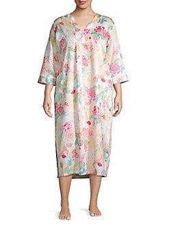 QUICK VIEW. Miss Elaine. Plius Floral Cotton Sleep Dress 663e76ccb