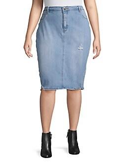 d8712a582a Plus Distressed Denim Pencil Skirt MEDIUM WASH. QUICK VIEW. Product image.  QUICK VIEW. LA LA Anthony